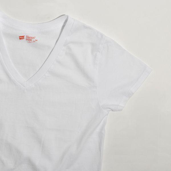 Hanes ヘインズ Tシャツ レディース Vネック カットソー 2P 2パック JAPAN FIT ジャパンフィット 白T